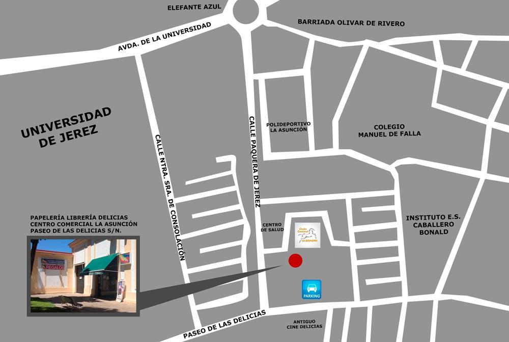 mapa-papeleria-las-delicias-jerez